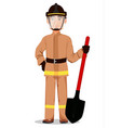 fireman cartoon character vector image vector image