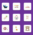 flat icon kid set of feeder toy infant cot and vector image vector image