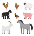 flat of farm animals vector image