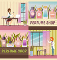 four perfume shop icon set vector image