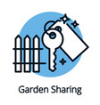 garden sharing key icon black outline concept vector image vector image