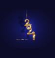 golden 2021 new year 3d logo interlocking numbers vector image