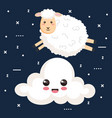 good night sleep cartoon sheep jump cloud animal vector image vector image