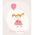greeting birthday card with cute girl vector image vector image