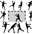 handball silhouettes vector image vector image