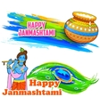 Happy Janmashtami banner vector image