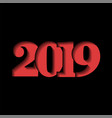 Happy new year card red 3d number 2019 isolated