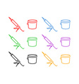Icon Set of Sealer and Bucket vector image vector image