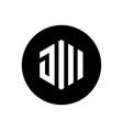 Initial letter jw or jm hexagon shape logo icon