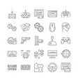 large set black and white video game icons vector image vector image