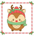 merry christmas cute coloring reindeer drawing vector image vector image