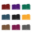 opened book icon in black style isolated on white vector image vector image