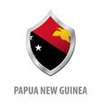 papua new guinea flag on metal shiny shield vector image vector image