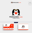 penguins care love and parenting logo template vector image vector image