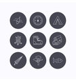 Pine tree fishing float and hiking boots icons vector image vector image
