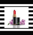 red lip stick mock up cosmetics card vector image vector image