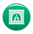 retro fireplace icon green vector image vector image