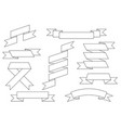 ribbon scrolls set outline drawing vector image vector image