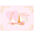Romantic wedding couple dancing in Paris kissing vector image vector image