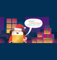 santa claus use laptop online live or chat vector image