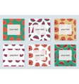 Set of 6 bright cards with summer symbols vector image