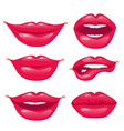 set of red lips sexy and glamour red lips on vector image vector image