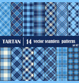 Set Tartan Seamless Pattern in blue tone vector image vector image