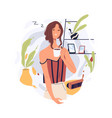 sleepy tired person waking up with coffee cup vector image vector image