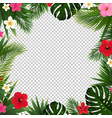 summer poster with tropical flowers and leaves vector image vector image