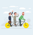 team work together eat on one bicycle vector image vector image