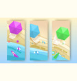 tropical beach banners set in paper art style vector image vector image