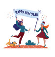 two women holding banner with happy new year text vector image vector image