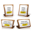 white paper signs on wood tablet vector image vector image