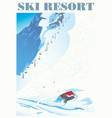 winter landscape a ski resort with mountains vector image
