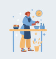 woman cooking at kitchen vector image vector image