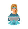 woman with laptop and cloud computing vector image vector image