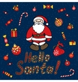 New Year Santa Claus background Stylized vector image