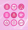 pink ribbon breast cancer awareness icons set vector image
