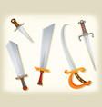 vintage swords knifes broadsword and saber set vector image