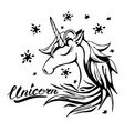 unicorn text and character in tattoo vector image