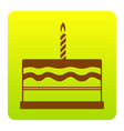 birthday cake sign brown icon at green vector image