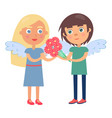 boy girl couple wings on back man gives flowers vector image vector image