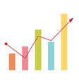 business bar chart with arrow going up vector image