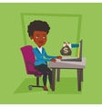 Business woman earning money from online business vector image vector image