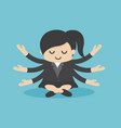 businesswoman practicing meditation girl sits vector image