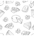 cheese pattern hand drawing on white background vector image