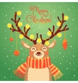 christmas card cute cartoon deer with garlands vector image