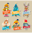 christmas stickers collection vector image vector image