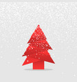 christmas tree and snow with shadow origami design vector image