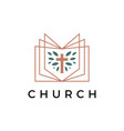 church book cross leaf logo icon vector image